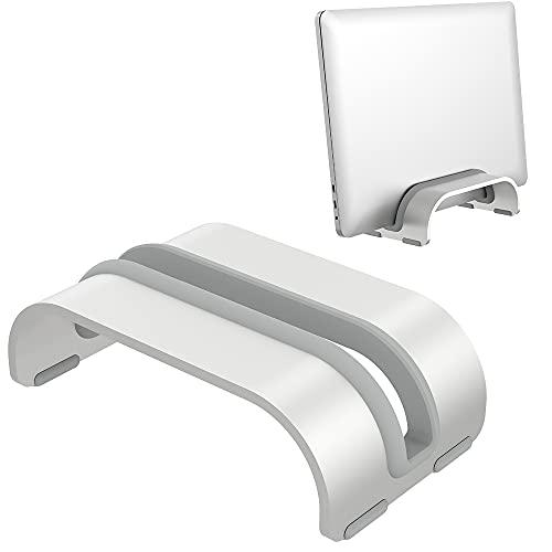 Soporte Vertical para Portátil,Klearlook Soporte Vertical de Aluminio Computadora Portátil, Organizador de Escritorio Que Ahorra Espacio para iPad/Macbook/Tableta y Portátil up to 0.7' Thich,Plata