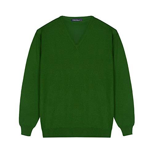 Sueter Hombre 100% Lana Merino/Jersey con Cuello de Pico de Manga Larga/Ropa de Hombres Fabricada en España/Tallas Grandes (Verde, XXL)