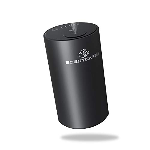 Scentcares Waterless Diffusers for Essential Oils,Nebulizing Diffuser with Battery Operated,No Water & Portable & Smart & Cordless Design,with Nebulizer for Cold Mist,Aromatherapy Diffuser-Black