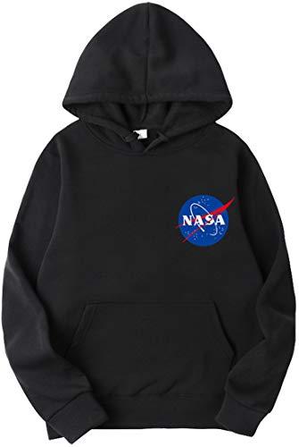 OLIPHEE Sudaderas con Capucha Color Sólido con Logo de NASA para Fanáticos de Aeroespacial para Hombre c/Hei-S