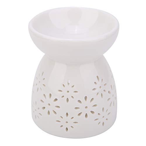 HERCHR Keramik Teelicht Kerzenhalter, ätherische Ölbrenner Wachswärmer Duftlampe Home Romantische Dekoration Weiß(Blume)