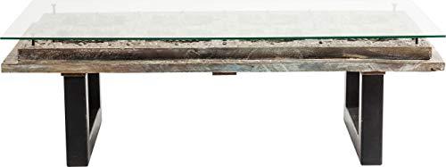 Kare Design - Table Basse Moderne Bois sculpté Verre Khalif