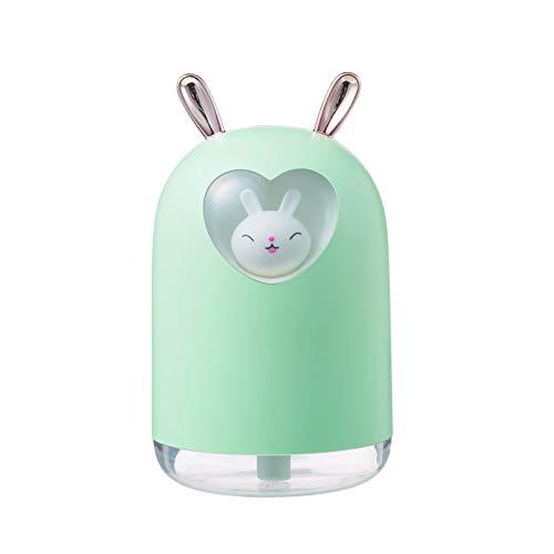 CGRTART Humidificador de Aire de Conejo 300ml Lindo Mascota Fresco Niebla Aroma Aceite difusor romántico Color led lámpara USB humidificador (Color : Green)