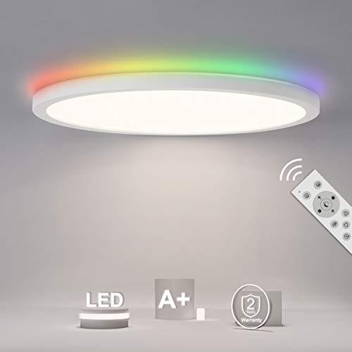 SHILOOK LED Deckenlampe Rund Flach Panel Dimmbar mit Backlight in RGB-Farbwechsel, 24W IP44 Deckenleuchte mit Fernbedienung, 3000K-6500K 2400lm, 29cm Weiß, 2.5cm Ultra Dünn Modern