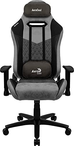 Aerocool DUKEBK, Silla Gaming, AeroSuede Transpirable, Respaldo Ajustable, Negro