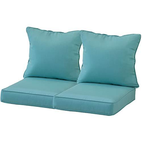 "Aoodor 24"" x 24"" Patio Furniture Outdoor Deep Seat Single Chair Sofa Cushion Back Olefin Fabric Slipcover Sponge Foam - Blue Color Set of 2 (2..."