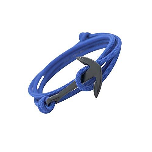 GLANZWEAR Envolver el Brazalete con Ancla de la Nave en Negro Rope Black Edition, Banda Ancla Náutica para los Hombres y Las Mujeres, Pulsera Unisex Muchos Colores de Moda Azul