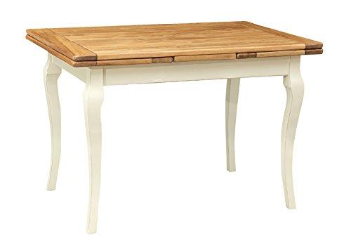 Biscottini Table Extensible en Bois Massif de Tilleul – Style Country – Style Shabby – Structure Blanche vieillie Plan Naturel L 120 x P 80 x H 80 cm