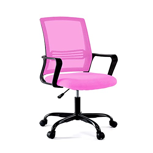 BHUTAN Home Office Chair Height Adjustable Upholstered Mesh Swivel Computer Office Ergonomic Desk Chair with Lumbar Support,Low-Back with Armrest (02L, Pink)