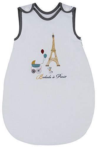 P'tit Basile - Gigoteuse préma 0-1 mois - 50 cm - collection Little Paris blanche - toutes saisons TOG 2 - Coton Bio certifié oekotex - turbulette maternité pour petit bébé