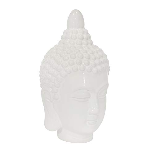 Sagebrook Home 14526 Ceramic 10' Buddha Head, White, 6 x 6 x 10