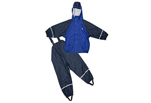 Elka Regenanzug Regenhose + Regenjacke für Kinder, gestreift und einfärbig Farben viele Größen 220g/Polyester (122/164, Marine Blau mit Fleece Futter)