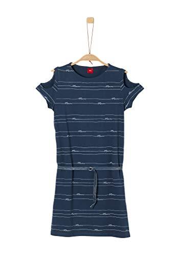 s.Oliver Junior Mädchen 401.12.006.20.200.2021096 Kleid, Navy Stripes AOP, 158/REG