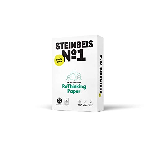 Steinbeige ReThinking Paper No. 1 - Papel reciclado DIN A3 de 80 g/m², ISO 70/CIE 55, color blanco, 5 paquetes de 500 hojas