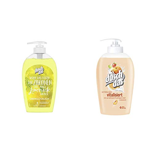 Duschdas Flüssigseife, für eine belebende Erfrischung mit Zitronen- & Rosmarinduft pH-hautneutral (6 x 250 ml) & Flüssigseife Vitalisiert Pumpspender, 6er Pack (6 x 250 ml)