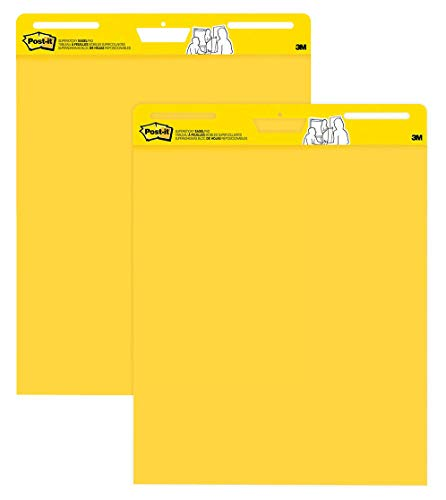 Post-it Super Sticky Easel Pad, 25 x 30 Inches, 30 Sheets/Pad, 2 Pads, Large Bright Yellow Premium Self Stick Flip Chart Paper, Super Sticking Power (559YW-2Pk)