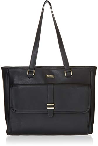 Kenneth Cole Reaction Runway Call Pebbled Faux Leather Single Compartment Front Flap Laptop Tote, Black