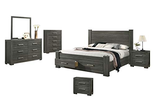 Best Quality Furniture 6PC Eastern King Bed + Dresser + Mirror + 2 Nightstands + Chest, Weathered Gray