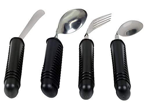Gima - 4-teiliges Besteckset mit Greifhilfe, formbar, ideal für Senioren oder Behinderte; Gabel, Messer, Löffel und Teelöffel; breiter, rutschfester Kunststoff-Griff
