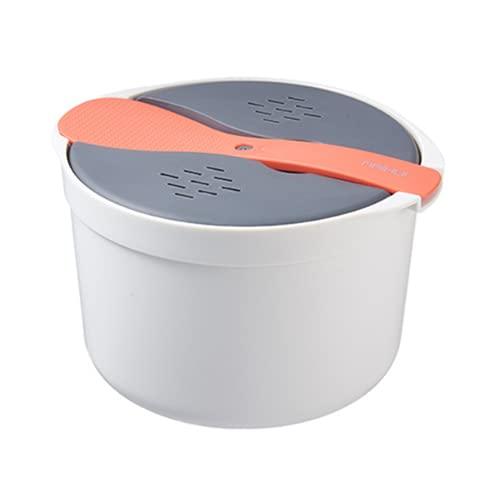 Ruoyu-EU Microwave Steamed Rice Cooker, Soup Pot, Steamed Rice Cooker, Double-layer Hot Soup, Rice Box (Orange)