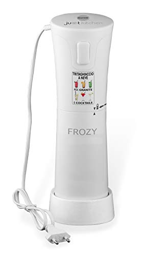 Macom Just Kitchen 861 Frozy Ice Crusher Tritaghiacchio Elettrico per Granite e Cocktail, 30 W, 56 Decibel, Plastica, Bianco