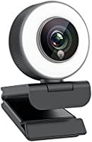 Streaming 1080P Webcam, Web Cam with Adjustable Ring Fill Light/Fast autofocus Web Camera for Xbox Gamer Facebook YouTube...