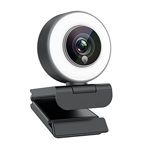 Angetube Full HD 1080p Webcam Luce ad Anello Regolabile Incorporata e Telecamera web in Streaming con Messa a Fuoco Automatica Avanzata per Xbox One Gamer Facebook e YouTube Streamer