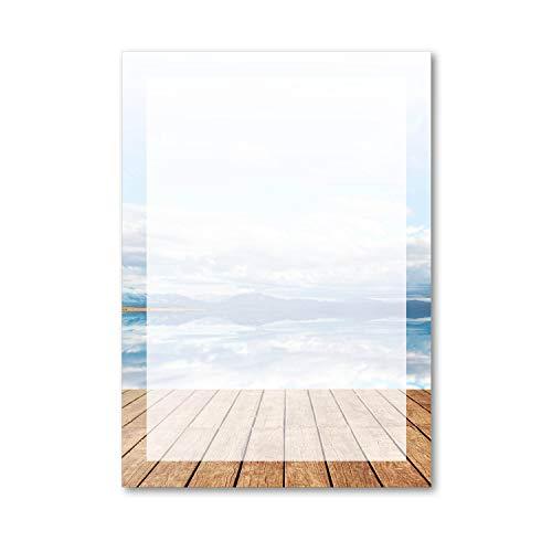 Briefpapier Set Panorama I 50 Blatt Motiv-Papier in DIN A4 I Strand-Motiv Meer-Blick Urlaub Rahmen I neutral I dv_197