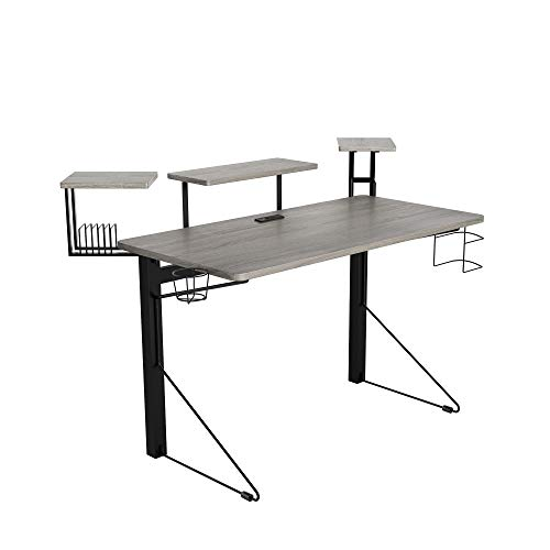 DAR CORE Computer Gaming Desk, Standard, Gray/Black