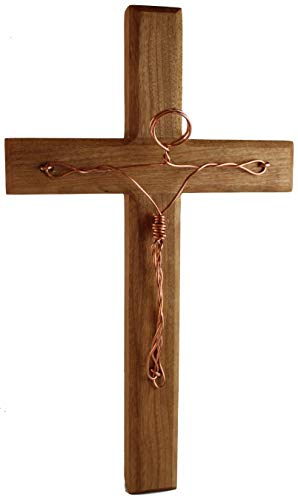 """Wooden Cross Wall Decor - Crucifix Wall Cross – Jesus Cross Wall Decoration - Inspirational Religious Faith Gifts - Handcrafted in USA by Missionary Family – 12"""" (Light)"""