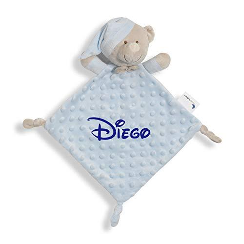 Manta de Bebe Personalizado con su Nombre Bordado, Cochecito o capazo. (DouDou Azul)