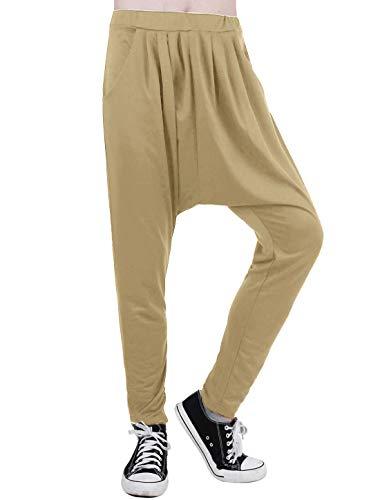 uxcell Pantalones Harem holgados con entrepierna caída para hombre, estilo hip hop, con martillo de paracaídas - marr�n - 48/50 ES