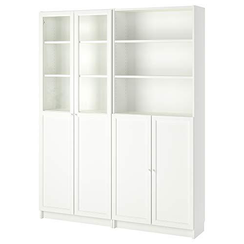 BILLY/OXBERG estantería con paneles/puertas de cristal 160x30x202 cm blanco