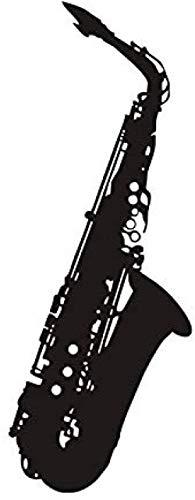 Muurstickers muurschilderingen Moderne Stijl Slaapkamer Saxofoon Modieuze Zwart Groot Maat Verwijderbare Kunst Zelfklevende 22X59cm