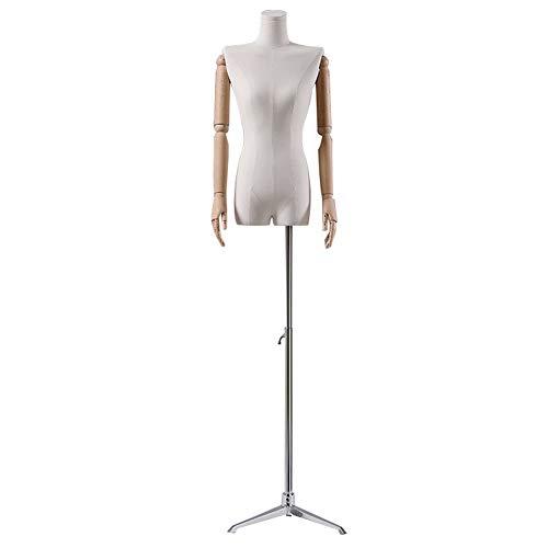 LRHYG Schneiderpuppe Weiblich Schaufensterpuppe Damenbüste Massivholz Arm Kann Aktivität Metallfuß 6 Style-Basen Verwendet for Kleidung Schmuck Show (Color : E)