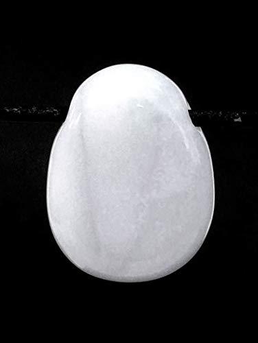 MKöpke® - weißer Opal | Milchopal - Trommelstein gebohrt - Edelstein Anhänger mit Lederband