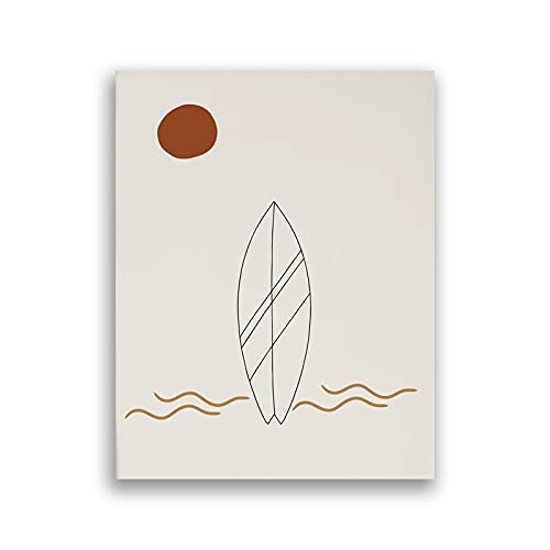 Tabla de surf Línea Dibujo Arte Abstracto Impresiones Surfing Sunrise Playa Paisajes Lienzo Pintura Cartel de Pared Decoración del Hogar 60x90cm Sin Marco