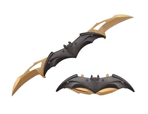 Dark Knight Twin Blade Knife - Pocket Folding Spring Assisted Dual Blades Bat Knives with Belt Clip (Black-Gold)