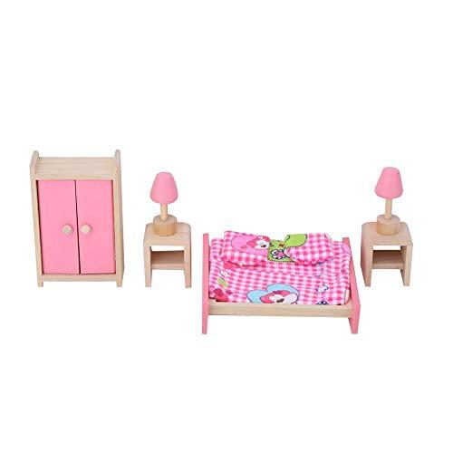 1:12 juego de muebles en miniatura, casa de muñecas Mini juego de muebles de madera de simulación realista que incluye sofá, baño, sala de estar, cocina(4)