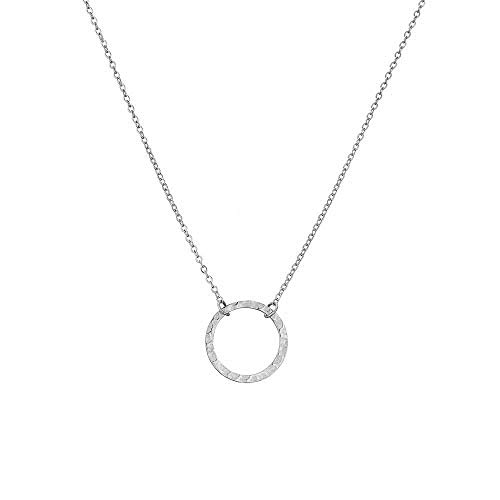 Forevereally Dainty Karma Necklace Hammered Open Circle Pendant Necklace Casual Necklace Simple Necklace for Women