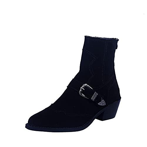 MRGIINR Punta a punta stivaletti per le donne moda camoscio tacco basso blocco posteriore zip fibbia stivaletti autunno punta chiusa alta top scarpe botas para mujer, Nero , 38 EU