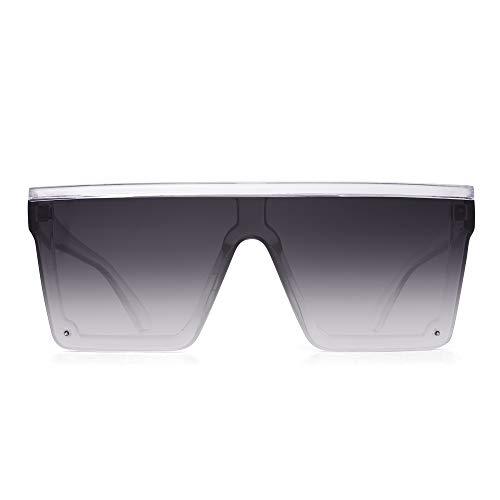 JIM HALO Gafas de Sol con Protección Superior Plana Gafas Cuadradas sin Montura de Espejo Para Mujeres y Hombres (Marco Transparente/Lente Gris Degradado)