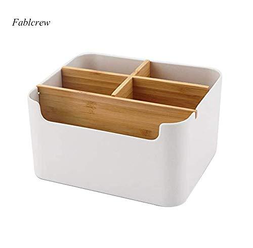 Fablcrew Holz Desktop Organizer, Bambus Tisch Organizer Office Supplies Aufbewahrungsbox, Schreibtischzubehör Organizer Fernbedienung Halter