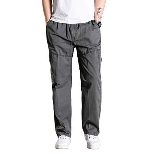 Pantalones Chinos para Hombre Pantalones Cargo Lavados de Corte Recto Resistente al Desgaste Durable Transpirable Cintura elástica de Ajuste Holgado Pantalones Casuales X-Large
