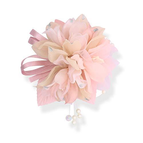 (クレインズコレクション) 手作り ふんわり コサージュ ブローチ ピン クリップ フォーマル シーンや エレガント な装いに (ピンク)