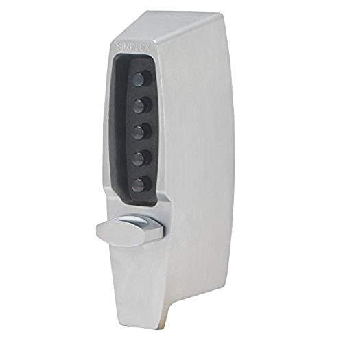 Simplex - 710826D Kaba 7100 Series Metal Mechanical Pushbutton Auxiliary Lock with Thumbturn, 25mm Tubular Deadbolt, Flat Front Face Plate, 60mm Backset, Satin Chrome Finish