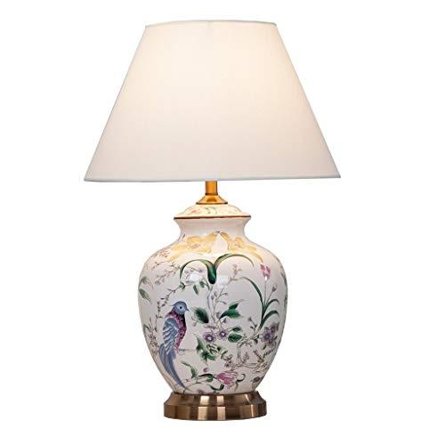 Lámparas de escritorio Cerámica china lámpara de mesa, lámpara de mesa de flores y de aves LED, dormitorio florero de la cabecera de la lámpara, conveniente for el dormitorio, sala de estar, Estudio l