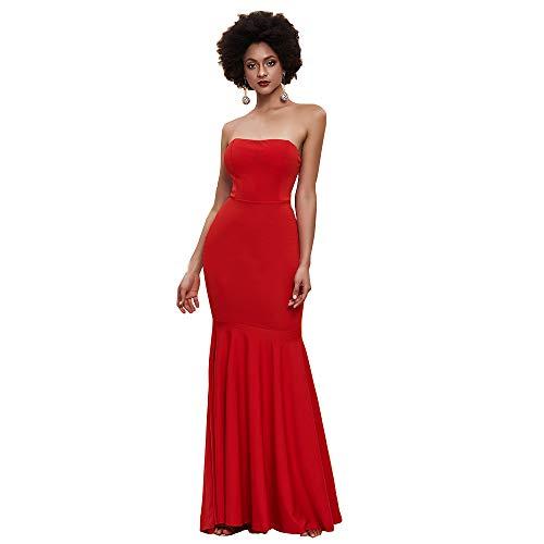 Miss ord Women's Sleeveless Bra Mermaid Party Dress (Small, Red)