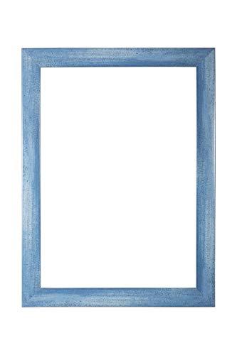 EUROLine35 mm Bilderrahmen für 32 x 123 cm Bilder, Farbe: Hellblau Gewischt, inkl. entspiegeltem Acrylglas und MDF Rückwand, Rahmen Breite: 35 mm, Außenmaß: 37,8 x 128,8 cm