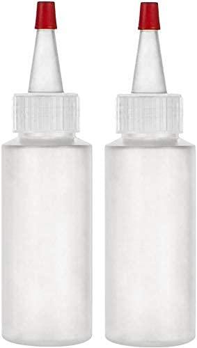 Botellas aplicadoras con tapa roja, apretar botellas de plástico vacías de 2 onzas, rellenables – multiusos (paquete de 2)